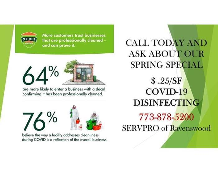 Advertisement of our .25 cent spring special deal for covid cleanup